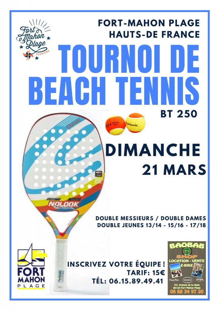 Tournoi de Beach Tennis Fort Mahon 21 Mars 2021