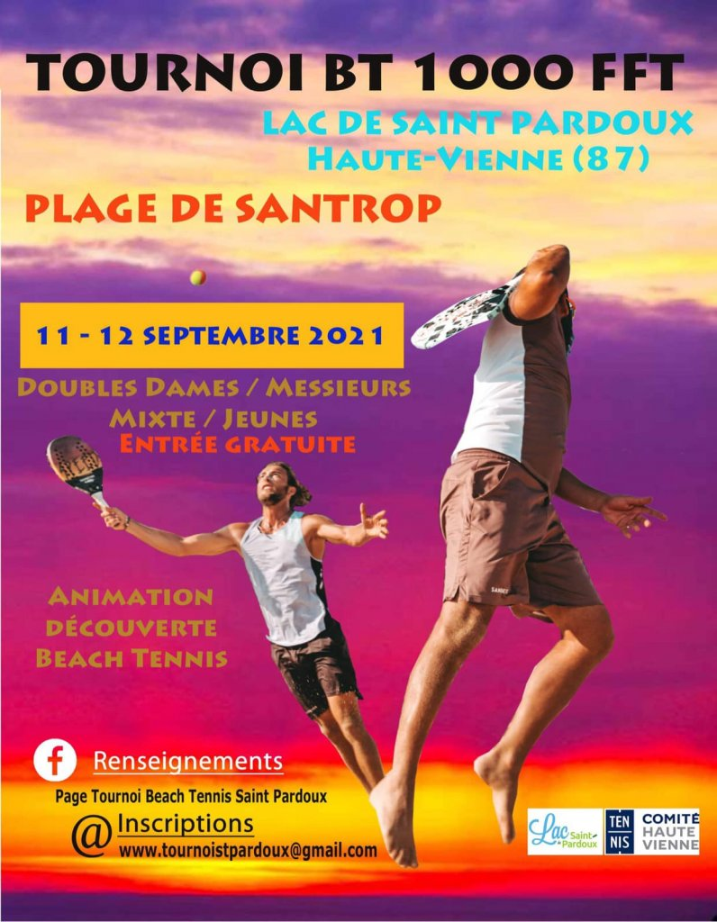 Tournoi de Beach tennis de SAINT PARDOUX 11/12 septembre 2021